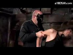 Brunette Girl In Stockings Spanked Getting Tied Up Sucking Cock In The Dungeon