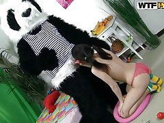 panda bear and a fragile sexually excited girl