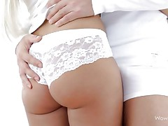 russian blonde in white panties
