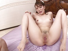 asian snatch swallows a big hairy wang
