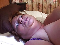biggest granny masturbating with a dildo