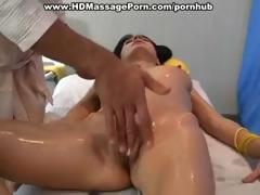 Hot brunette acquires oiled up for a nice massage and acquires fucked