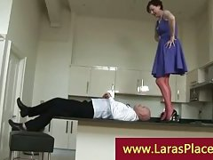 Liciking pussy over the balcony kitchen by a horny bold chap