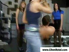 Cfnm bitches dominate femdom guy