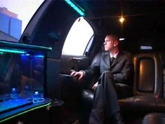 Hot homo meeting in driving limo