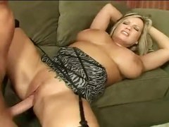 Huge titties curvy milf fucked on couch