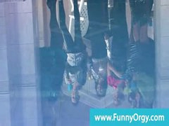 Upperclass rich lesbians in heels at a pool orgy