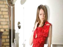 Ultra nice-looking slender gal undressing