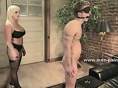 Domestic man pleasing busty blonde learning what to do in female domination sex enjoying her spanks