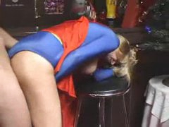 Supergirl costume on blonde milf taking dick