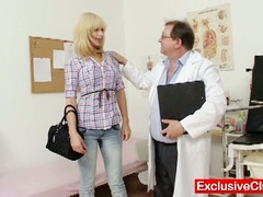 Blond paris visits naughty old gyno doctor to have her pussy examined