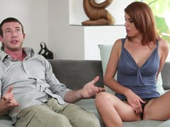 Red-haired beauty mistresse Kristine Crystalis spreads her legs side by side with handsome guy. She touches her pussy and shows off her boobs before sucking sausage.